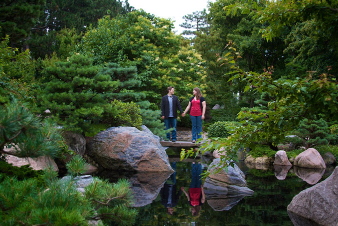 Engaged couple in Japanese garden
