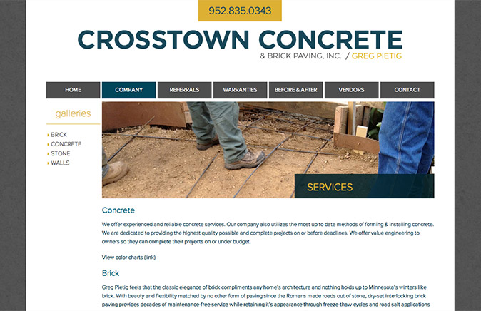 Crosstown Concrete Services page