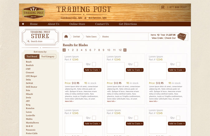 Trading Post online store mockup