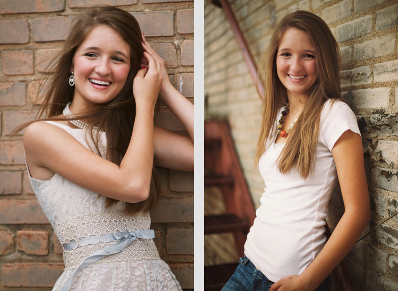 Two senior pictures woman against brick wall