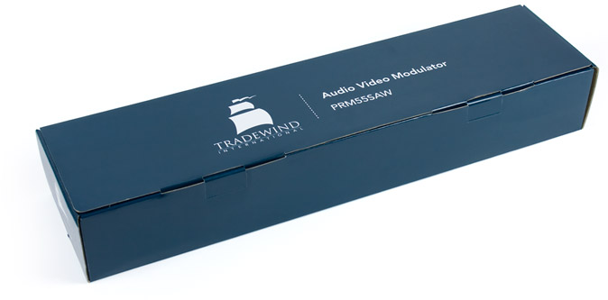 Picture of a Tradewind product packaging. The box is flooded with Tradewind blue and the logo & part info are reversed to white.