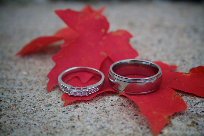 Wedding Rings on maple leaves