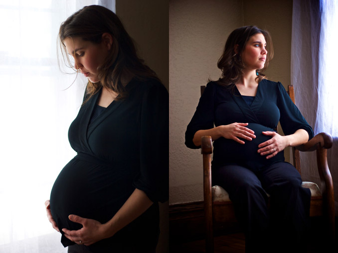 Two images of pregnant woman
