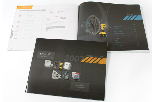 Photo of 2007 Pace Catalog cover & open spread behind