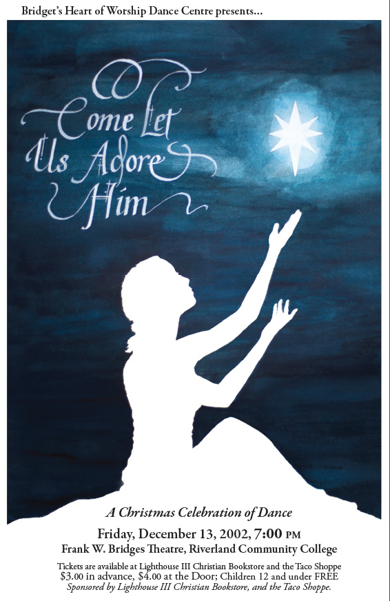 Poster for Dance event entitled: O Come Let Us Adore Him. It shows a silhouette of young woman in a worshipful dance pose against the dark watercolor sky.