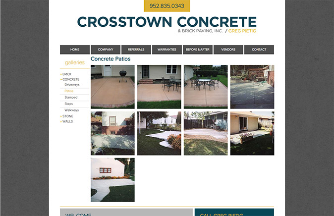 Crosstown Concrete gallery page showing patios