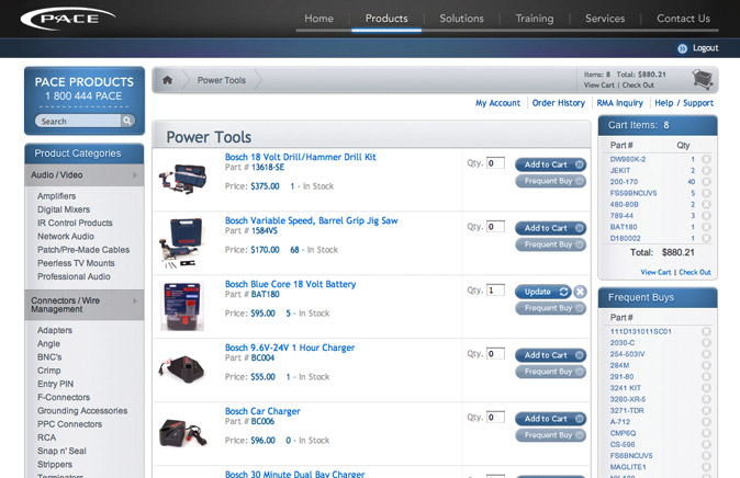 Search results page. This page shows a brief description of each part as well as the ability to add items and store frequent buys for easier purchase later.